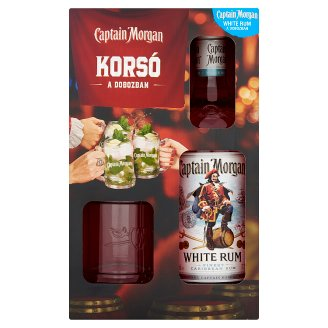 Captain Morgan White Rum + Glass 37,5% 0,7 l