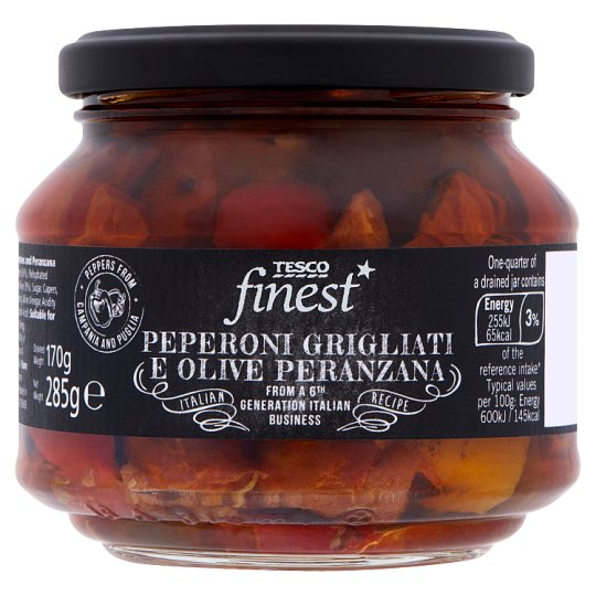 Tesco Finest sült paprika, szárított paradicsom és Perenzana olívabogyók olajos felöntőlében 285 g