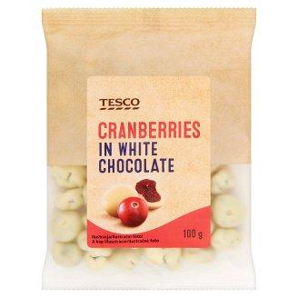 Tesco kandírozott vörösáfonya fehér csokoládés bevonattal 100 g