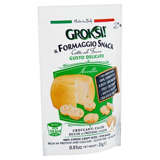 Groksí! ropogós, korong alakú sajt snack, zsíros félkemény sajtból 24 g