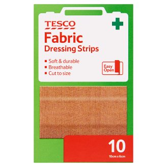 Tesco Fabric Dressing Strips 10 cm x 6 cm 10 pcs