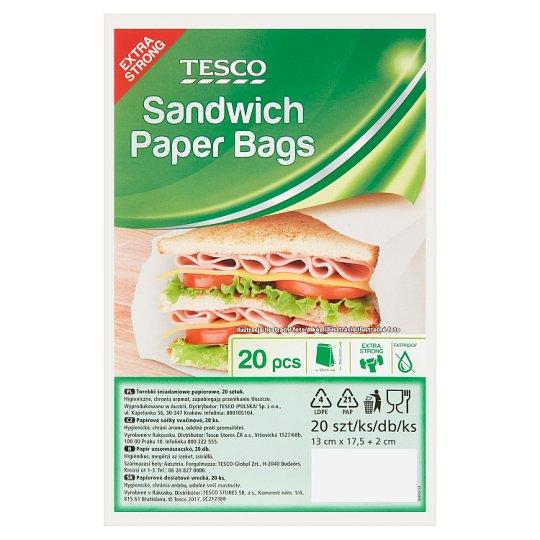 Tesco Sandwich Paper Bags 13 cm x 17,5 + 2 cm 20 pcs