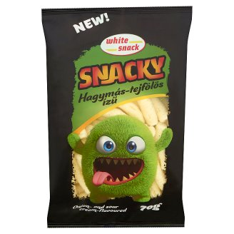 White Snack Snacky Onion and Sour Cream Flavoured Extruded Corn Sticks 70 g