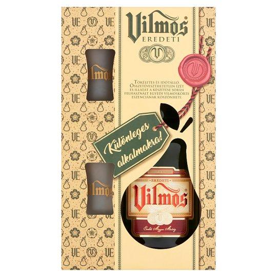 Vilmos Eredeti vilmoskörte vodka + 2 db pohár díszdobozban 37,5% 0,7 l