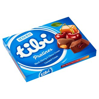 Tibi Pralines with Black Cherry and Choco Cream, Caramel Cream Filling 119 g