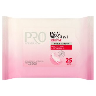 Tesco Pro Formula Sensitive 3 in 1 Facial Wipes 25 pcs