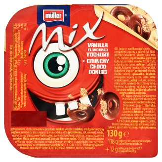 Müller Mix Monster Red Vanilla Flavoured Yoghurt with Crunchy Choco Donuts 130 g