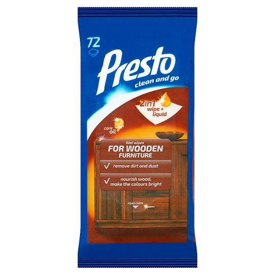 Presto Wet Wipes for Wooden Furniture 72 pcs