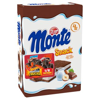 Zott Monte Sponge Cake With a Creamy Filling of Milk, Chocolate and Hazelnuts 4 x 29 g