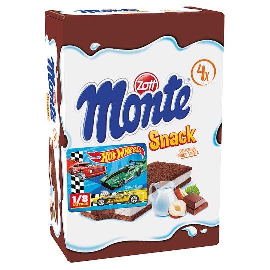 Zott Monte Snack tejes, csokoládés-mogyorós krémmel töltött sütemény 4 x 29 g