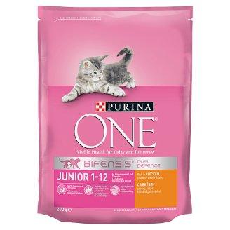 Purina One Junior csirkében gazdag száraz macskaeledel teljes kiőrlésű gabonákkal 200 g