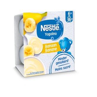 Nestlé Yogolino Milk Based Banana Flavoured Baby Dessert 6+ Months 4 x 100 g