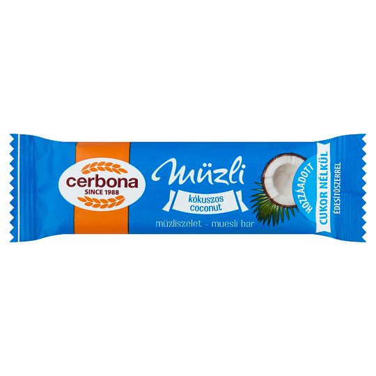 image 1 of Cerbona Coconut Cereal Bar with Sugar and Sweetener in Cocoa Milk Coating 20 g