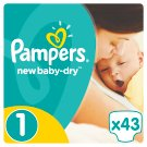 Pampers New Baby-Dry Size 1 (Newborn) 2-5Kg, 43 nappies