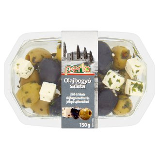 Perla Olives Salad Green and Black Olives with Mediterranean Style Cheese 150 g