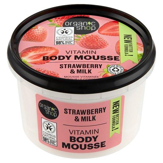 Organic Shop Eper Joghurt testápoló mousse BIO eper és tejkivonattal 250 ml