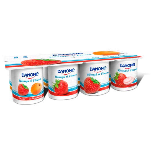 Danone Strawberry and Apricot Flavoured Low-Fat Yoghurt with Live Cultures 8 x 125 g