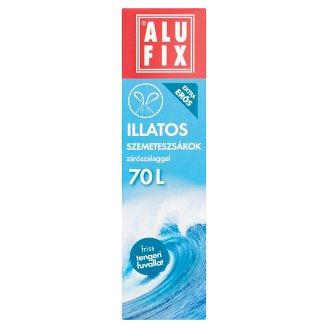 Alufix 70 literes friss tengeri fuvallat illatú szemeteszsákok zárószalaggal 8 db