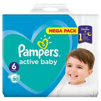 Pampers Active Baby Size 6, 80 Nappies, 13-18kg