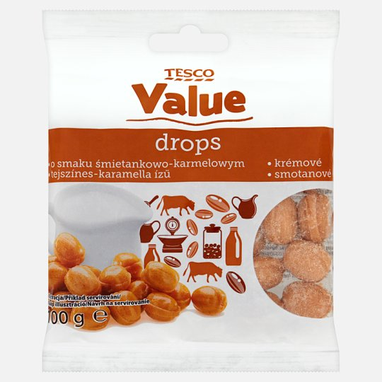 Tesco Value Cream and Caramel Flavoured Candies 100 g