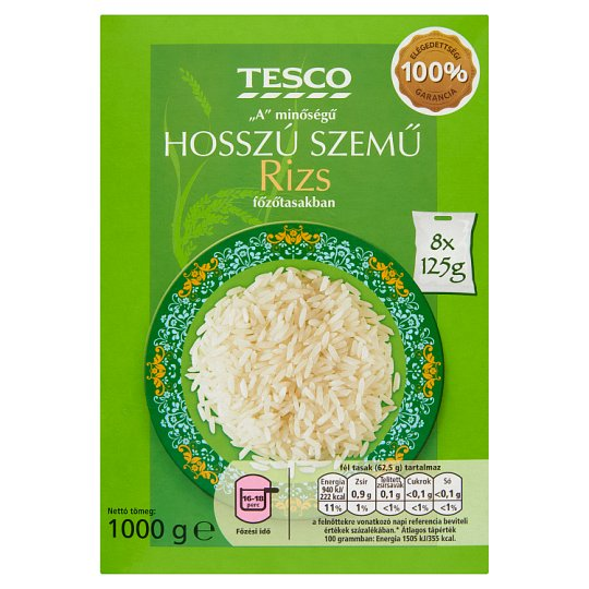 """Tesco """"A"""" Quality Long Grain Rice in Cooking Bag 8 x 125 g"""