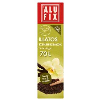 Alufix 70 literes fekete tea & vanília illatú szemeteszsákok zárószalaggal 8 db