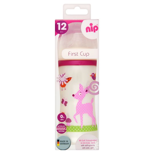 NIP 330 ml First Cup with Soft-Spout & Anti-Colic Vent 12 Months+