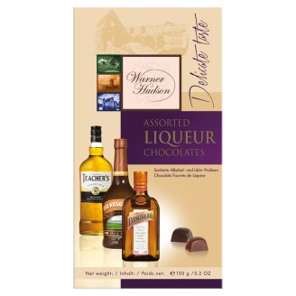 Warner Hudson Alcohol and Liqueur Filled Chocolate Covered Assorted Pralines 150 g