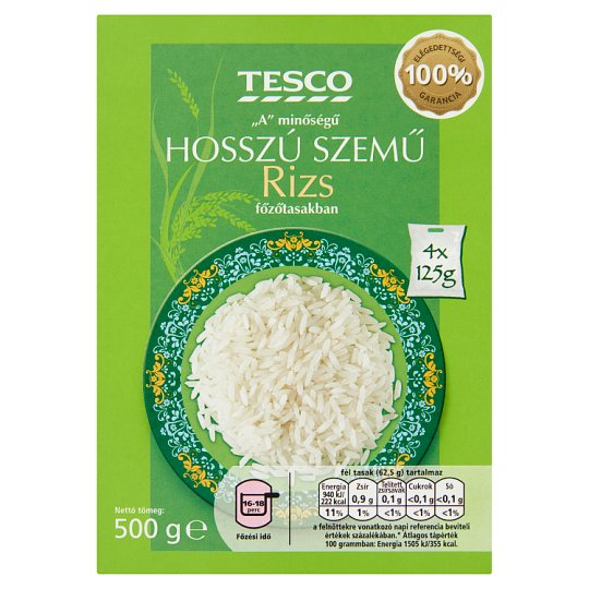 """Tesco """"A"""" Quality Long Grain Rice in Cooking Bag 4 x 125 g"""