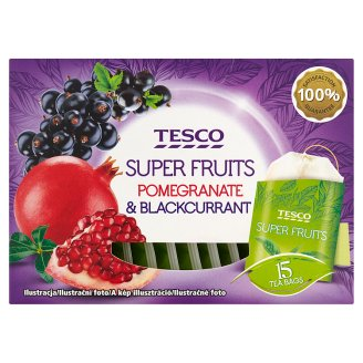Tesco Super Fruits Pomegranate & Blackcurrant Tea 15 Tea Bags 30 g