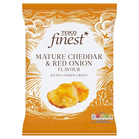 Tesco Finest karamellizált vöröshagyma és cheddar sajt ízesítésű burgonyachips 150 g