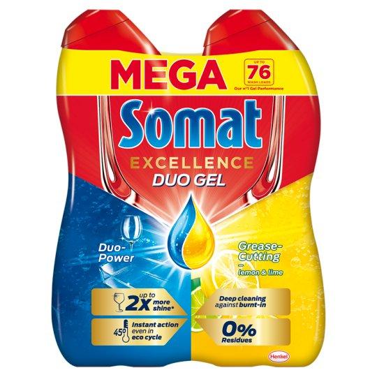 Somat Gold Gel Grease Cutting Lemon & Lime Dishwasher Gel 2 x 684 ml