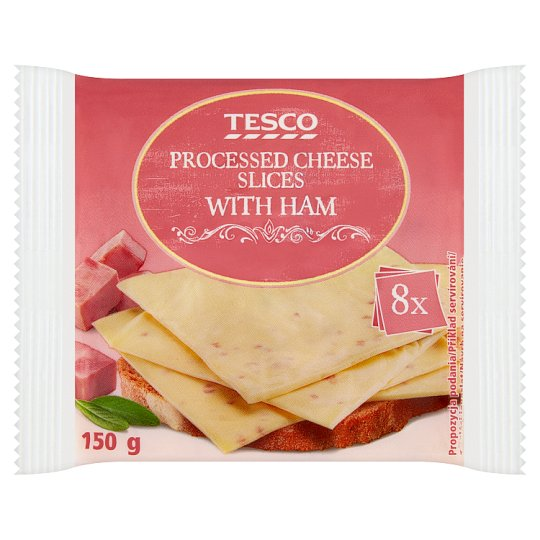 Tesco Processed Cheese Slices with Ham 8 pcs 150 g