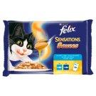 Felix Sensations teljes értékű eledel felnőtt macskáknak fekete tőkehallal és szardíniával 4 x 100 g