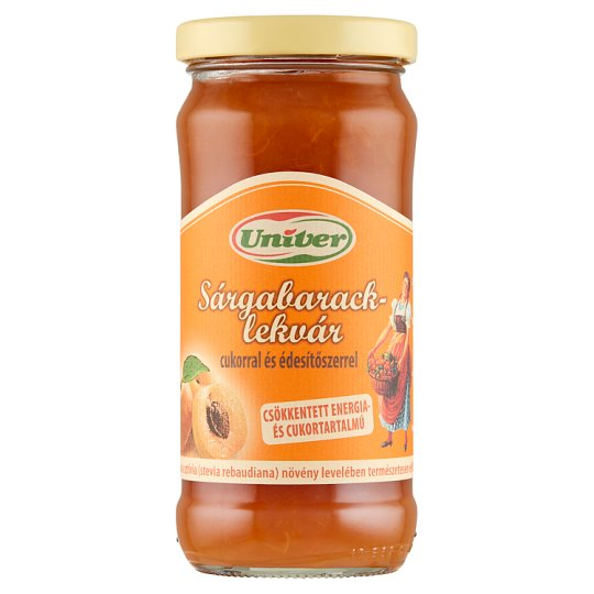 Kecskeméti Reduced Energy- and Sugar Content Apricot Jam with Sugar and Sweetener 280 g