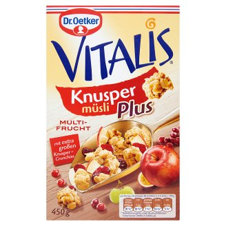 Dr. Oetker Vitalis Knusper Plus gyümölcsös ropogós müzli 450 g