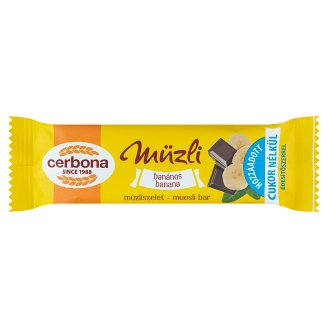 Cerbona Banana Cereal Bar with Sugar and Sweeteners in Cocoa Milk Coating 20 g