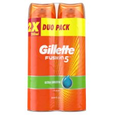 Gillette Fusion5 Ultra Sensitive Men's Shaving Gel 2x200ml