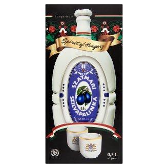 Szatmári szilvapálinka hollóházi porcelán kulacsban 2 pohárral 44% 0,5 l