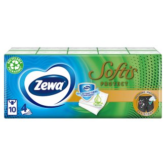 Zewa Softis Protect Scented Handkerchiefs 4 Ply 10 x 9 pcs