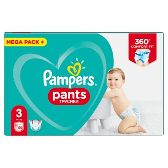 Pampers Pants Size 3, 120 Nappies, 6-11kg, Absorbing Channels