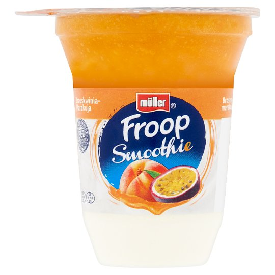 Müller Froop Smoothie Yogurt with Layered Foamed Peach-Passion Fruit Preparation 150 g