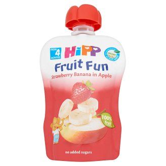 HiPP Fruit Fun Organic Gluten-Free Strawberry Banana in Apple Fruit Mix 4+ Months 90 g
