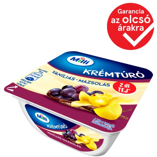 Milli Vanilla-Raisin Cottage Cheese Cream 90 g