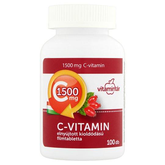 Vitamintár C-vitamin 1500 mg elnyújtott kioldódású filmtabletta csipkebogyó kivonattal 100 db 190 g