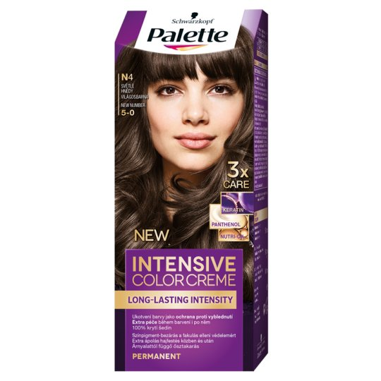 Schwarzkopf Palette Intensive Color Creme Intense Cream Hair Colorant 5-0 Light Brown (N4)