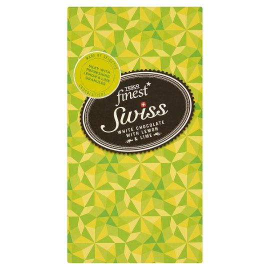 Tesco Finest fehér csokoládé citrom és limedarabokkal 100 g
