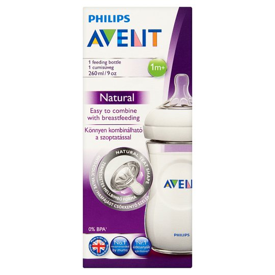 Philips Avent Natural 260 ml Feeding Bottle with Slow Flow Feeding Soother 1+ Months