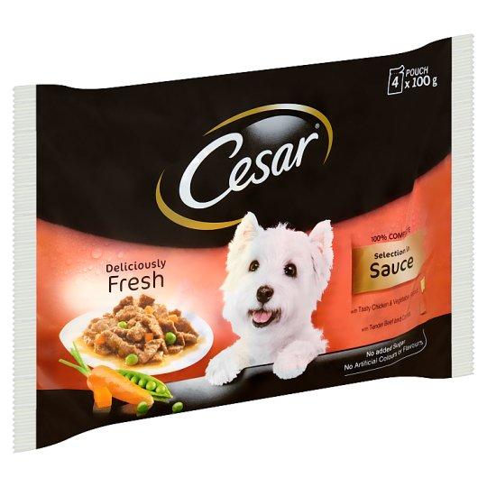 Cesar teljes értékű állateledel válogatás mártásban felnőtt kutyák számára 4 x 100 g