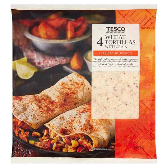 Tesco Wheat Tortillas with Grain 4 pcs 250 g